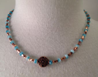 Copper and Crystal Necklace, Antique copper necklace, Copper and Aqua necklace, Antique copper and crystal necklace