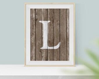 Letter L Print - Initial Print - Wood Monogram Art Print - Printable Art - Rustic Wall Art - Wood Monogram - Monogram Print - Rustic Decor