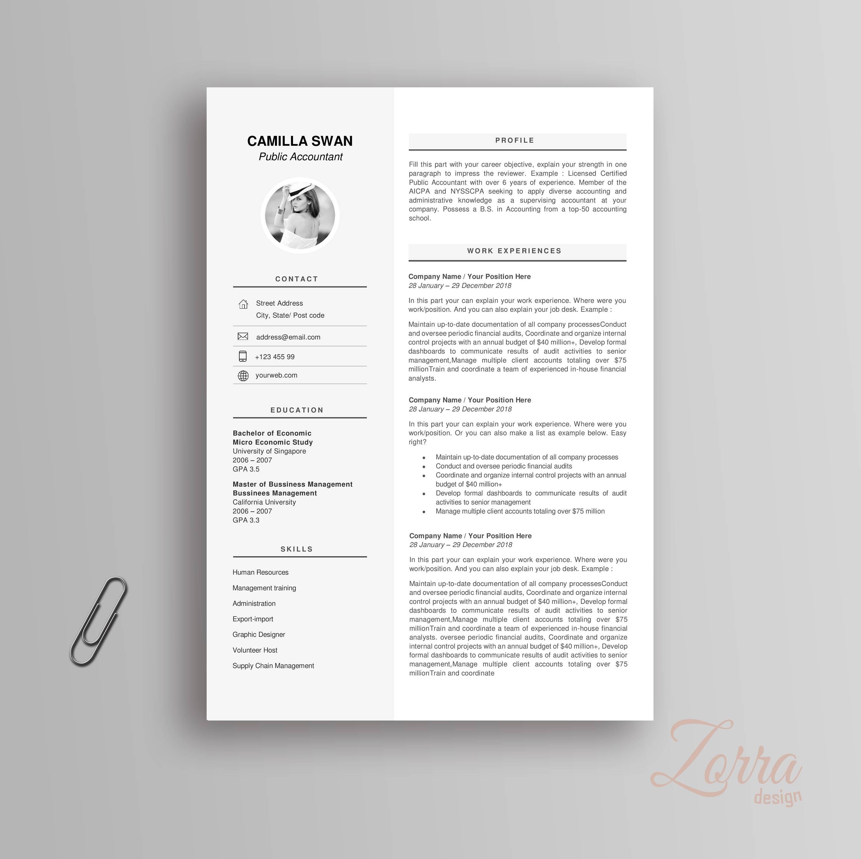 Moderne Lebenslauf Vorlage / CV für Microsoft Office Word