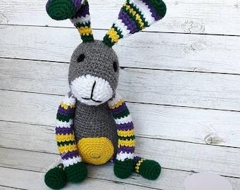 Rainbow crochet rabbit - Stuffed animal bunny -  Bunny plush - Crochet bunny rabbit - Crochet plush bunny - Long eared bunny - Bunny softie