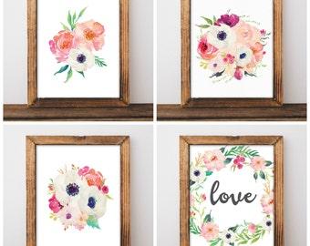 Floral Nursery Decor - Watercolor Nursery Art - Anemone Nursery - Girls Nursery Prints - Pink Nursery - Digital Download 8x10 - Set of 4