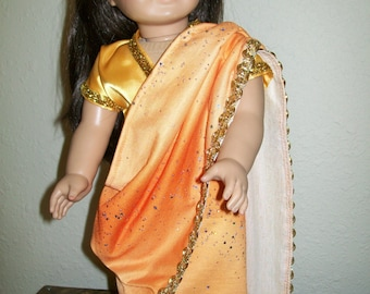 Glittering Gold Sari with Crystal Headband for the American Girl or 18 Inch Dolls