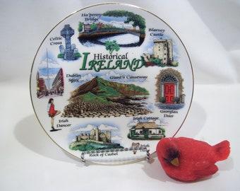 Ireland Souvenir Plate Dublin Blarney Castle Celtic Cross Elgate Ceramics Rock of Cashel Irish Dancer Ha Penny Bridges