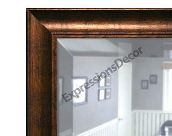 Custom Aquatic Copper Beveled Wall Mirror - FREE SHIPPING