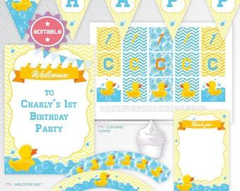 Rubber duck - Blue editable printable party decoration package - INSTANT DOWNLOAD - A4 & LETTER