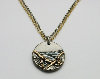 Handmade Mixed Metal Ocean and Beach Necklace, Bronze Necklace, Mixed Metal Jewelry, Ocean Lover Jewelry, Beach Lover Jewelry, Gray and Gold