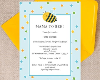 Personalised Blue Bumble Bee Baby Shower Invitation Cards