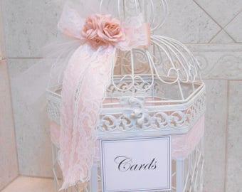 White Wedding Birdcage Card Holder | Wedding Card Box | White and Blush Wedding Decor | Pink and White Birdcage