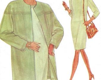 90s Womens Unlined Jacket & Chemise Dress Vogue Sewing Pattern 8422 Size 8 10 12 Bust 31 1/2 to 34 FF Perfect for Office