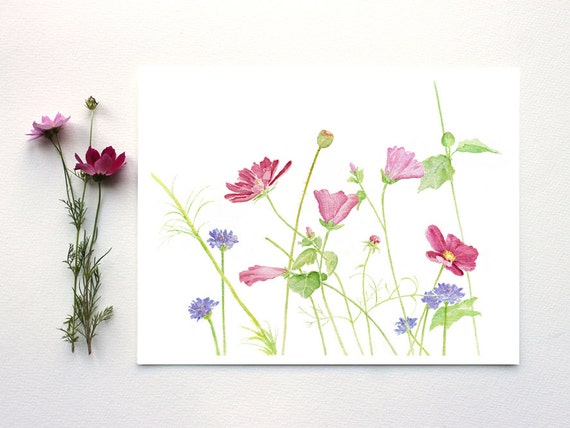 wildflowers watercolor painting wildflower print watercolor