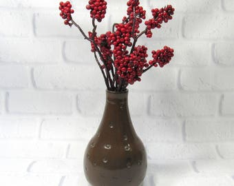Ceramic Bud Vase - Bottle Vase - Pottery Bottle - Sake Bottle - Flower Vase - Brown Vase - Modern Decor - Contemporary Decor