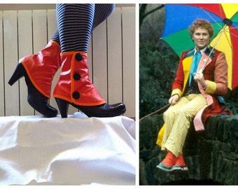 Doctor Who Low orange spats waterproof Tardis 6th season gaiters