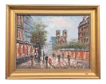 Paris France/Notre Dame Oil Painting