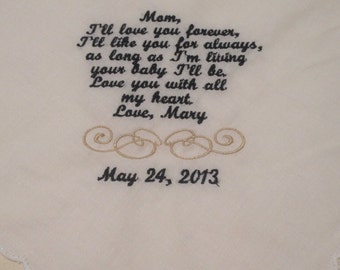 Mother of the bride or mother of the groom hanky