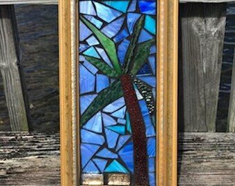 Palm Tree Stained Glass Mosaic Wall Art