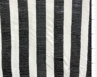 Cream/Black Sequin Stripe Jersey Knit, Fabric By The Yard