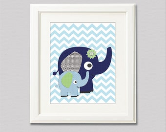 Navy, blue and green nursery Art Print - 8x10 - Chevron, Children wall art, baby boy wall decor, grey, elephants - UNFRAMED