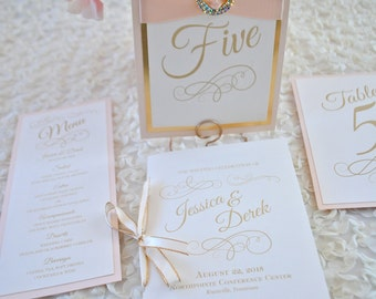 Romantic Champagne and Blush Folded Program