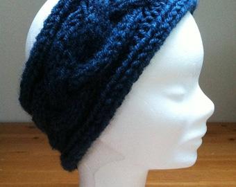 Hand knitted blue headband