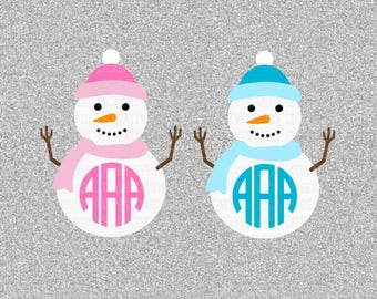 Snowman Monogram SVG, Christmas Monogram SVG, Christmas SVG, Silhouette Cut Files, Cricut Cut Files