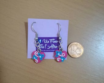 Heart earring with beaded decoration