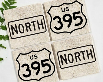 ROUTE 395 HIGHWAY COASTER | Stone Coaster | Traffic Road Sign | North Sign | Man Cave Gift | Garage Shop | California Highway | Fishing Gift