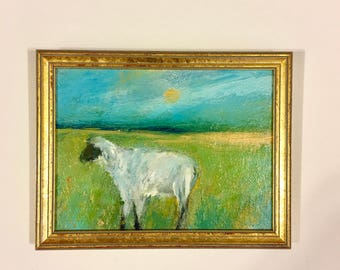 Sheep Painting- Framed- Small Painting - Original Painting- 6 x 8 Canvas/Wood Panel- Gold Frame- Small Sheep Painting