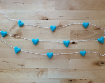 Felted wool heart garland, Bright Turquoise, on tan striped baker's twine, 6ft, teal nursery decor, turquoise heart garland, boy baby shower
