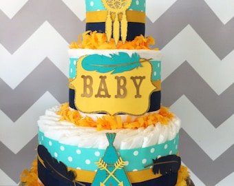 Tribal Diaper Cake in Teal, Navy and Yellow, Tribal Baby Shower Centerpiece