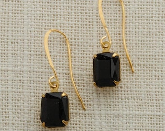 Black & Gold French Hook Earrings Emerald Cut Stone Onyx Color Rhinestone Wedding Earrings Bridesmaid Gift Handcrafted Dark 10mm 6H
