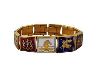 Enamel Knights Coat of Arms Vintage Bracelet