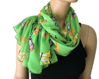 Spring green butterfly scarf-long chiffon scarf with butterflies-Parisian Neck Tissu