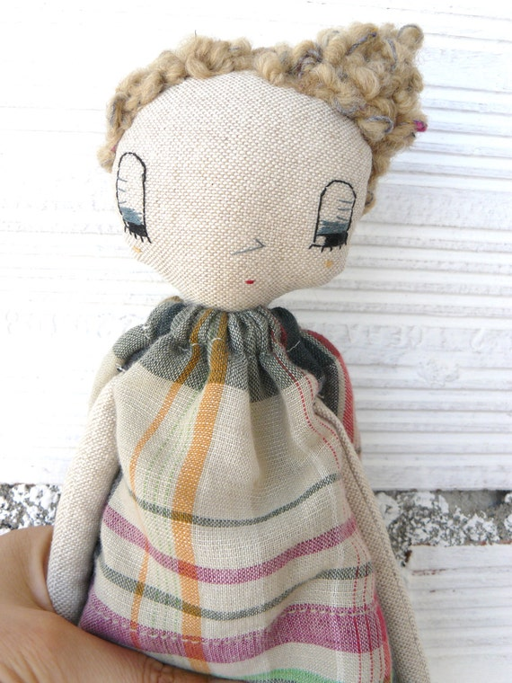 Doll with curly alpaca and wool  hair. 32 cm
