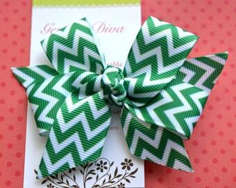 Dark Emerald Green Chevron Classic Diva Bow