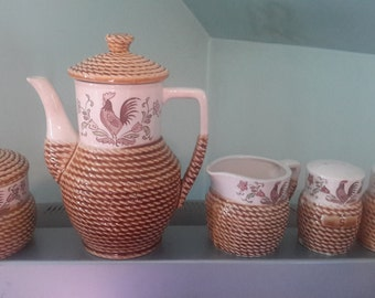 Vintage Japan Wicker Rooster Ceramic coffeepot, creamer, sugar, salt and pepper set