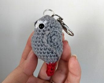 African Grey, parrot, crocheted bird