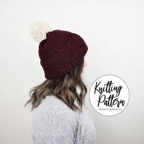 Knitting Hat Pattern Knit Double Brim Tuque Red Slouchy