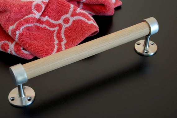 Satin Stainless Steel and White Oak Towel Bar