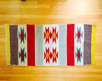 navajo rug, native american rug, bright-colored navajo rug, vintage rug from Arizona