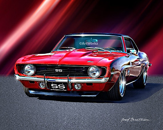 Exceptional Muscle Car Print 1969 Camaro SS Hot Rod Art Auto Poster