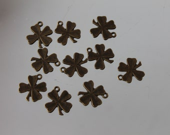 10 charms bronze metal - 18 mm - jewelry-four leaf clovers