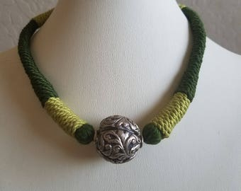 Sterling silver Ball Pendant in Hand woven cord necklace