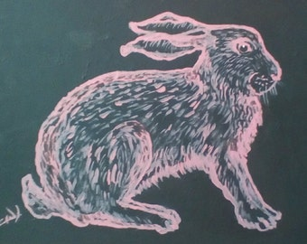 Pink Rabbit Painting on Black in Frame