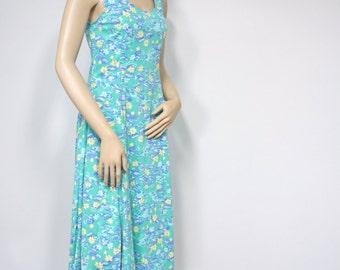 Vintage Sundress Dress Water Lily Sleeveless Dress Floral Size XS