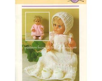 Baby layette Vintage Doll reborn Knitting christening dress Knit Pattern PDF 1003 from WonkyZebra