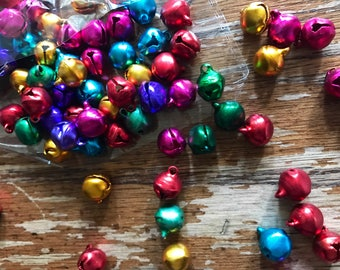Colorful mini bells multi colored jingle bells beads Holiday Christmas tiny bells