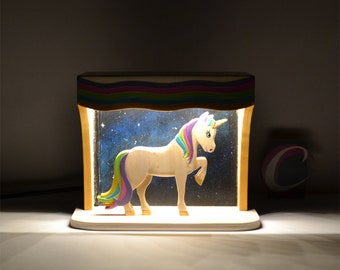 Rainbow Unicorn wooden bedside lamp