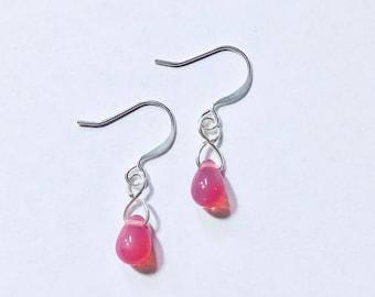 Milky Pink Czech Glass Teardrop Earrings TCJG