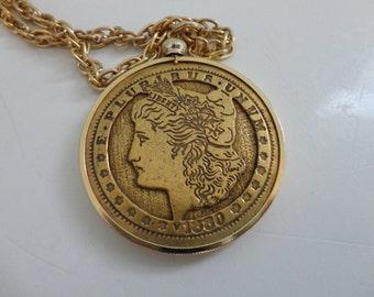 VINTAGE gold tone COIN pendant NECKLACE