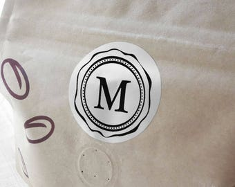"Silver Foil ""Initial Letter"" Labels Stickers Seals #R4039"